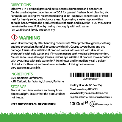 Grass cleaner label